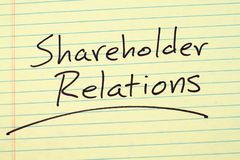 Shareholder Relations On A Yellow Legal Pad Stock Images