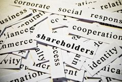 Shareholders. Concept of cutout words related with business. Stock Images