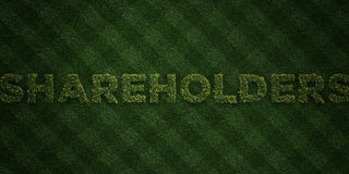 SHAREHOLDERS - fresh Grass letters with flowers and dandelions - 3D rendered royalty free stock image Stock Image