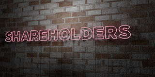 SHAREHOLDERS - Glowing Neon Sign on stonework wall - 3D rendered royalty free stock illustration Royalty Free Stock Images