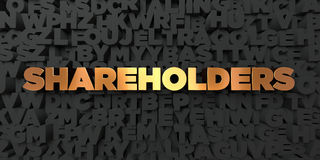 Shareholders - Gold text on black background - 3D rendered royalty free stock picture Royalty Free Stock Photo
