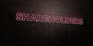 SHAREHOLDERS -Realistic Neon Sign on Brick Wall background - 3D rendered royalty free stock image Stock Photography