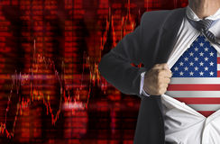 Shares fall graph with businessman showing a superhero stock illustration
