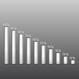 Shares of percent on paper columns Stock Photo