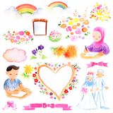Sharia and Islamic Wedding Theme Watercolor Illustration. For any purpose such as cover book, illustration book, wedding invitation, greeting card, wedding stock illustration