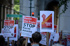 Sharia protest. Counter protesters at a rally against Sharia in New York City Stock Photo