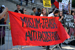 Sharia protest. Counter protesters at a rally against Sharia in New York City Royalty Free Stock Photography