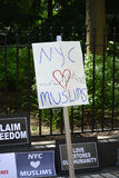 Sharia protest. Counter protesters at a rally against Sharia in New York City Stock Images