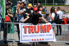Sharia Protest. Donald Trump support holding a sign at a demonstration against Sharia Law in New York City Royalty Free Stock Photography