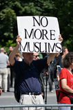 Sharia Protest. Man holding a sign at an anti-sharia protest march in New York City Royalty Free Stock Image