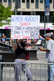 Sharia protest. Man holding a sign at an Anti-Sharia protest in New York City Stock Photos