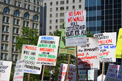 Sharia Protest. People holding signs at a pro-Muslim rally and march in New York City Royalty Free Stock Photos