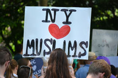 Sharia Protest. People holding signs at a pro-Muslim rally and march in New York City Stock Image