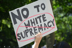Sharia Protest. People holding signs at a pro-Muslim rally and march in New York City Stock Photography