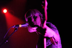 Sharin Foo, blonde singer of The Raveonettes,  Danish indie rock duo Royalty Free Stock Photo