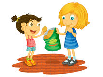 Sharing. Illustration of children sharing chips vector illustration