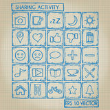 Sharing Activity Icon Doodle Set Royalty Free Stock Photography
