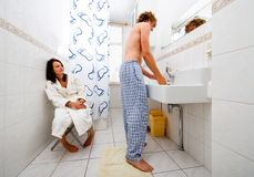 Sharing a bathroom Royalty Free Stock Photos