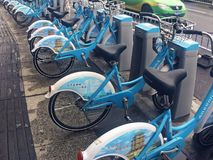 Sharing bicycles in China. Sharing bicycles is a shared bicycle service provided by businesses on campus, subway stations, bus stops, residential areas, business Stock Photos