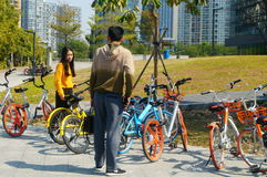 Sharing bicycles in the streets, convenient for people to travel. In Shenzhen, china. Royalty Free Stock Image