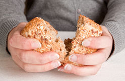 Sharing bread Stock Image