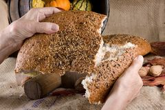 Sharing bread Royalty Free Stock Image