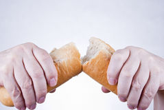 Sharing bread Stock Images