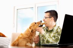 Sharing breakfast with best friend Royalty Free Stock Photos