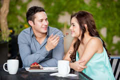Sharing a cake with my girlfriend Royalty Free Stock Photo