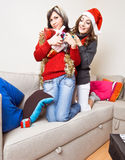 Sharing Christmas Presents Stock Photos