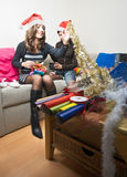 Sharing Christmas Presents Royalty Free Stock Photo