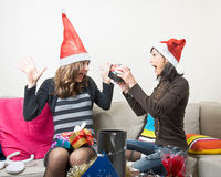 Sharing Christmas Presents Royalty Free Stock Photos