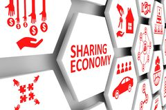 SHARING ECONOMY concept cell background. 3d illustration vector illustration