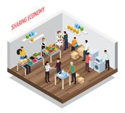 Sharing Meetup Isometric Background. Sharing economy isometric composition with view of room with goods and private belongings for gratuitous transfer vector vector illustration