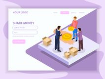 Sharing Economy Isometric Web Page vector illustration