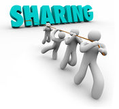 Sharing Economy People Team Pulling Word Working Together. Sharing word pulled by team working together in a crowdsourcing economy or project for improvement and Stock Images