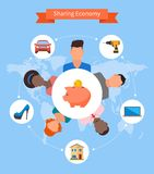 Sharing economy and smart consumption concept Stock Images
