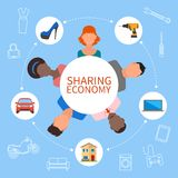 Sharing economy and smart consumption concept. Vector illustration in flat style. People save money, share resources. Sharing economy and smart consumption Royalty Free Stock Photography