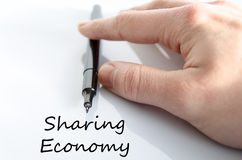 Sharing economy text concept Stock Image