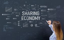 Sharing economy with young woman stock photo
