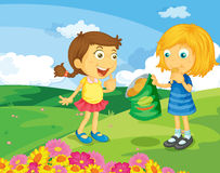 Sharing food. Illustration of 2 girls sharing a bag of crisps royalty free illustration