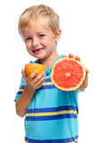 Sharing fruit young boy Royalty Free Stock Images