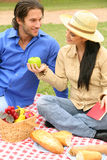 Sharing Fruits In Summer Picnic. Happy young couple in summer picnic park. the girl is giving green apple to her boyfriend royalty free stock images