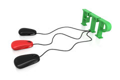Sharing FTP. 3D rendered Illustration. FTP connection Stock Image