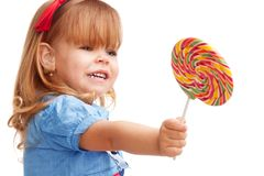 Sharing a giving away lollipop Stock Photography