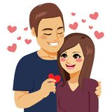 Sharing Heart Love. Man sharing red heart paper with girlfriend love concept vector illustration
