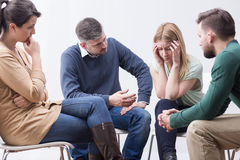 Sharing her fears on self-help fellowship meeting Stock Photo