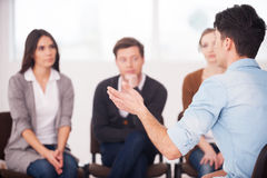 Sharing his problems with people. Stock Photography