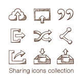 Sharing icons collection. Stock Photo