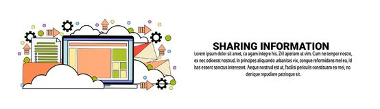 Sharing Information Technology Concept Horizontal Web Banner With Copy Space. Vector Illustration royalty free illustration